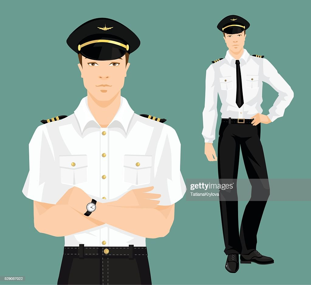 Vector illustration of pilot in formal clothes