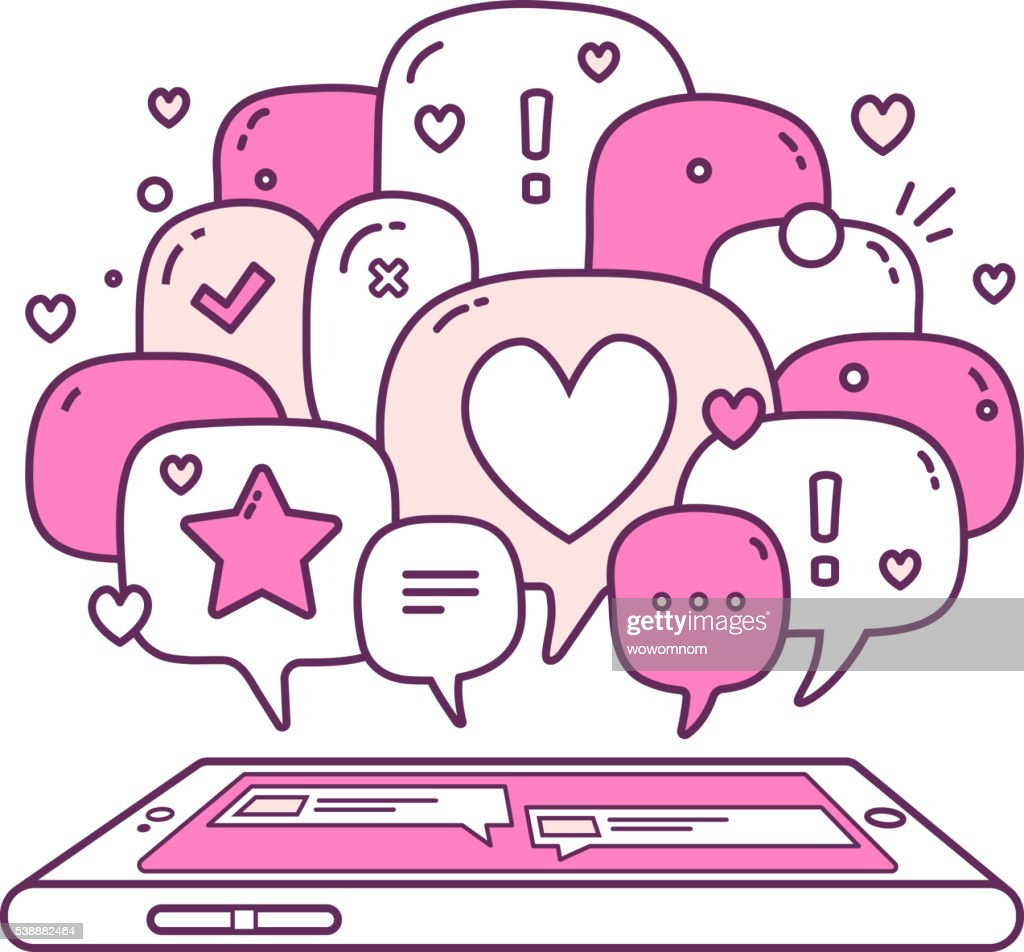 Vector illustration of pink color dialog speech bubbles