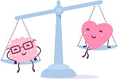 Vector illustration of pink color human brain with glasses and heart sit on the scales on white background. The brain outweighs the heart concept.