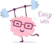 Vector illustration of pink color smile brain with glasses easy lifts weights on white background. Fitness cartoon brain concept.