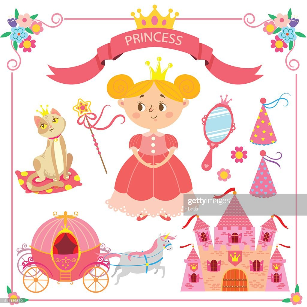 Vector illustration of pink princess