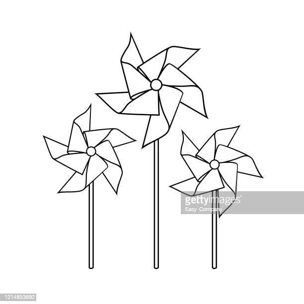 子供の塗り絵のための白い背景に分離されたピンホイールのベクトルイラスト。 - 風車塔点のイラスト素材/クリップアート素材/マンガ素材/アイコン素材