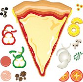 Vector illustration of pizza with toppings around