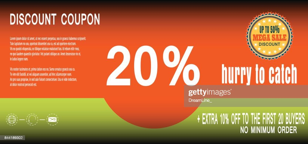 Vector illustration of poster discount coupon for promotion megasale.