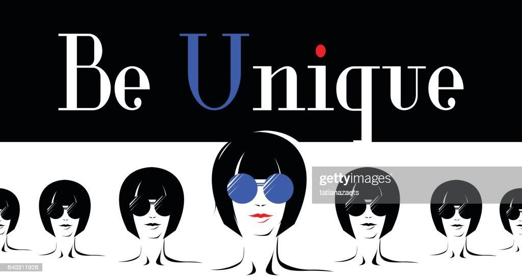 Vector illustration of poster with elegant girl in glasses in