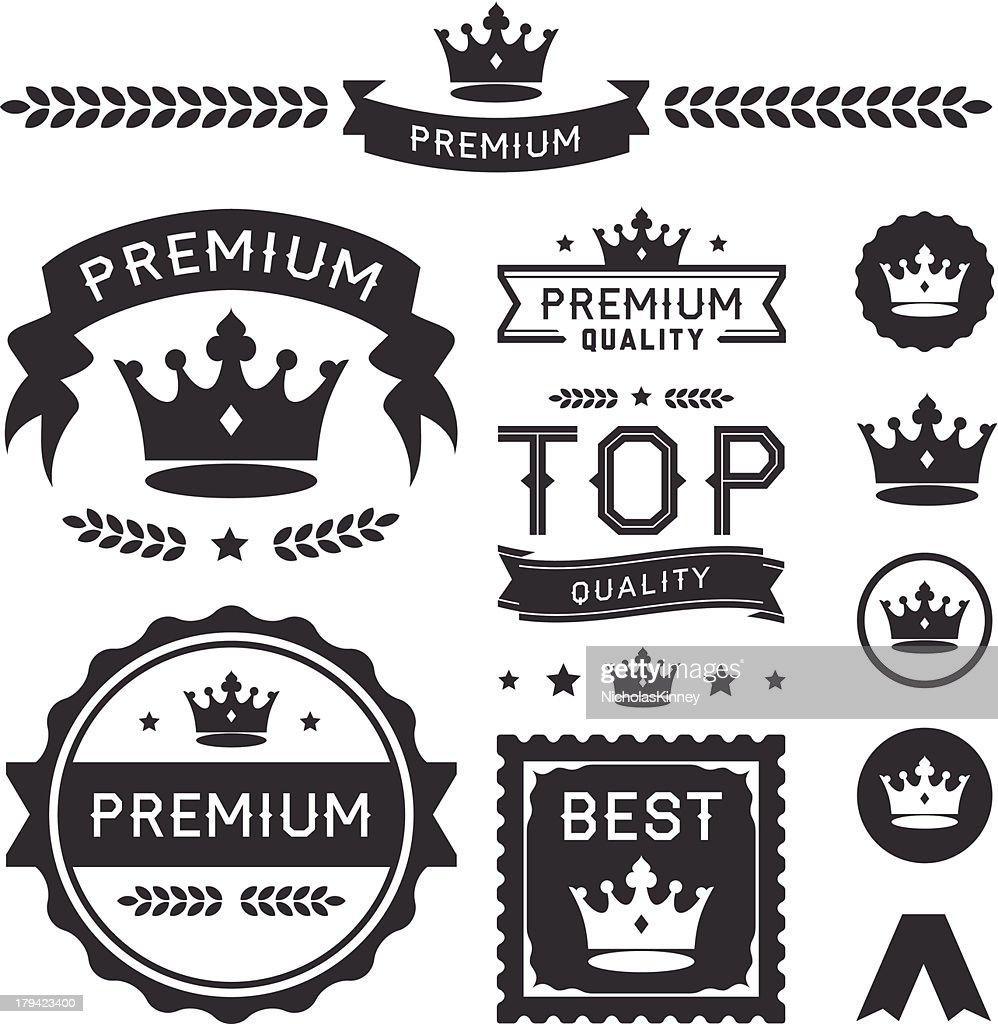 Vector illustration of premium crown badge icons