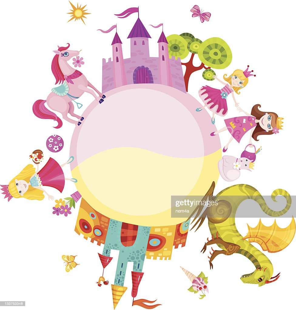 Vector illustration of princesses and castles