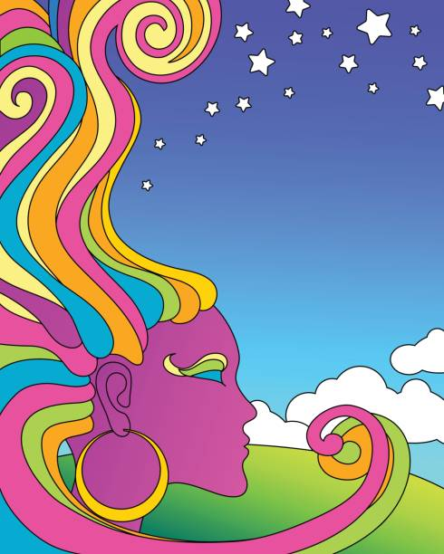 vector illustration of psychedelic 1960 s pop art poster template