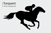 Vector illustration of race horse with jockey. Black isolated silhouette on transparent background. Equestrian competition symbol.