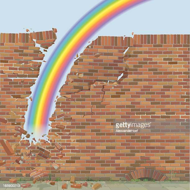 Vektor-Illustration von Rainbow brechenden in der Wand