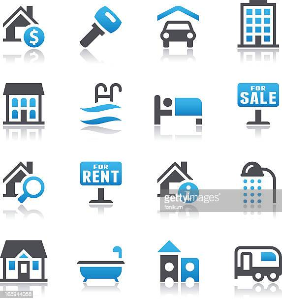vector illustration of real estate icons - house rental stock illustrations, clip art, cartoons, & icons