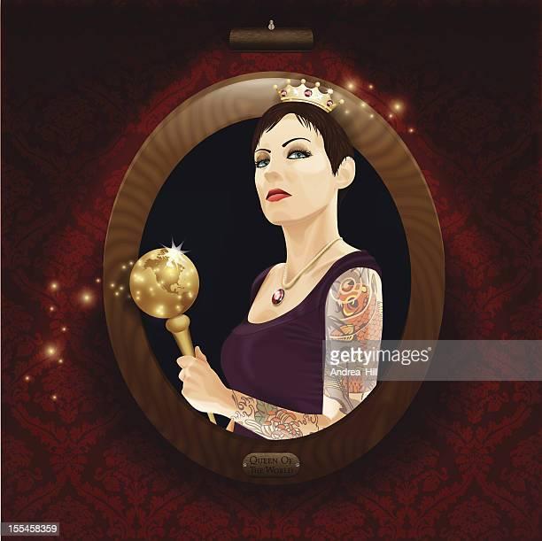 現実的なベクトルイラストのポートレート。世界の女王。