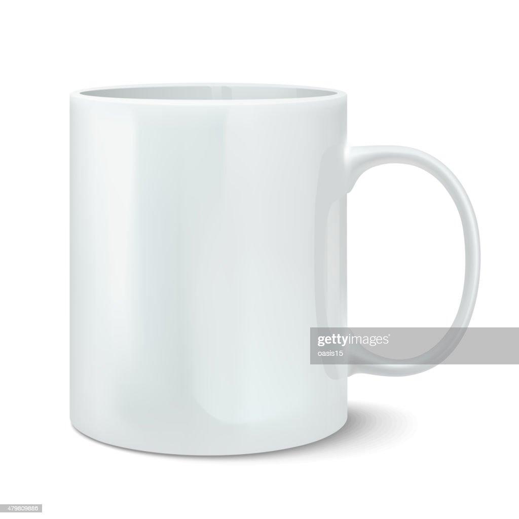 Vector illustration of realistic white mug