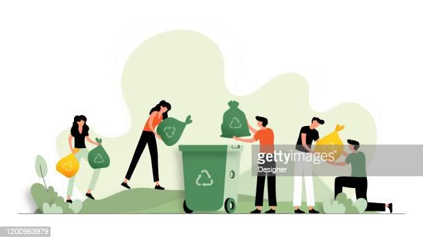 リサイクルコンセプトのベクトル図ウェブページ、バナー、プレゼンテーションなどのフラットモダンデザイン - 再生利用点のイラスト素材/クリップアート素材/マンガ素材/アイコン素材