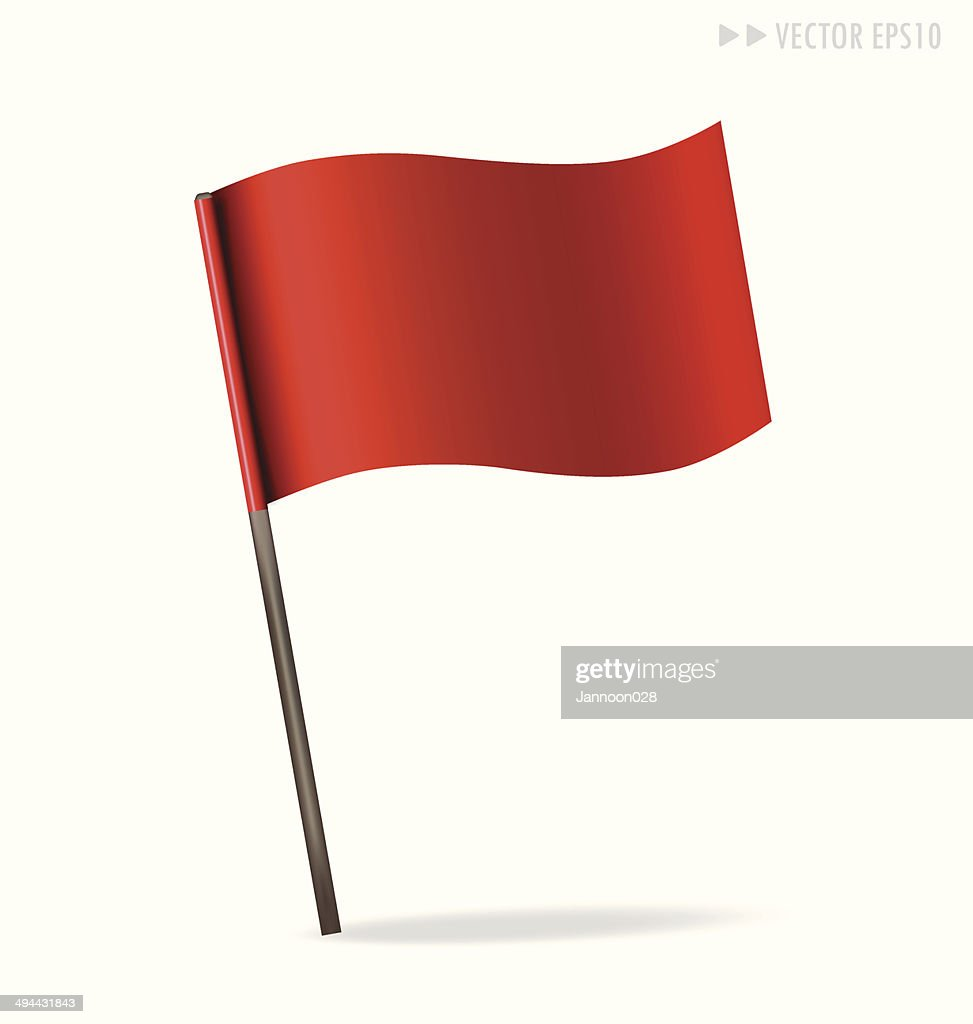 Vector illustration of red flag on white