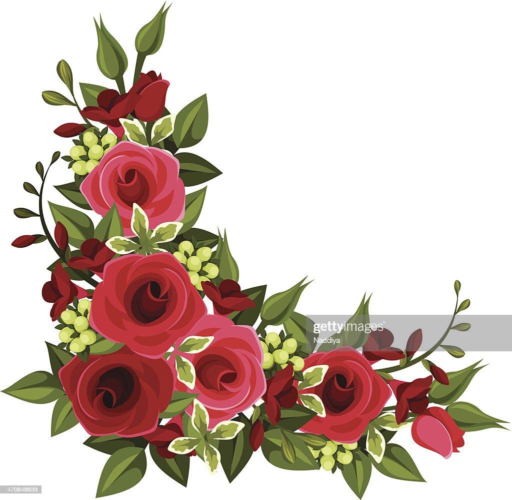 Vector illustration of red roses in corner