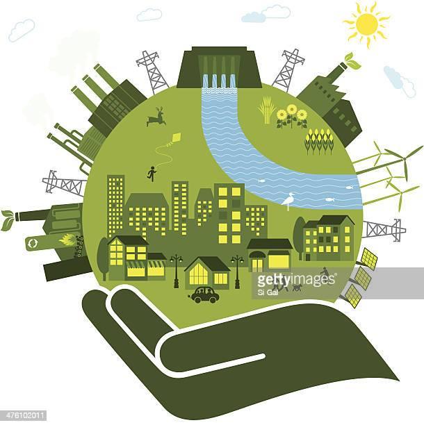 Vector illustration of renewable energies