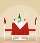 Vector illustration of reserved dining table and chairs for two people with bottle of wine, glasses, candles. Romantic dinner concept in flat cartoon style.