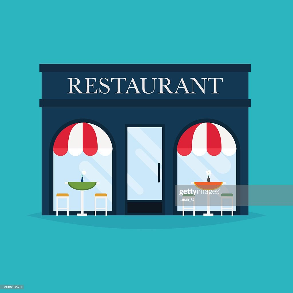 Vector illustration of restaurant building. Facade icons. Ideal