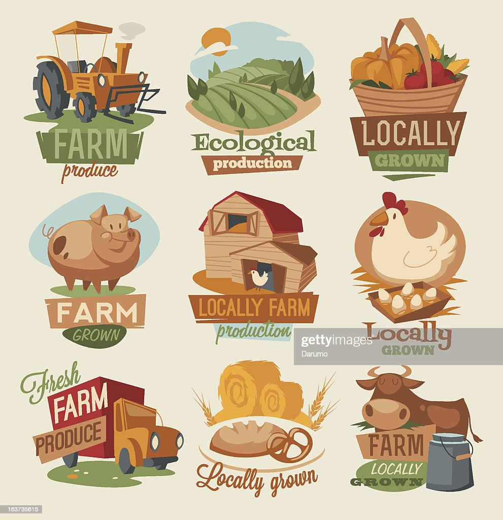 Vector illustration of retro style farm emblems