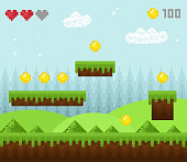 Vector illustration of retro style pixel game landscape, pixelated game scenery icons, old game background, pixel design.