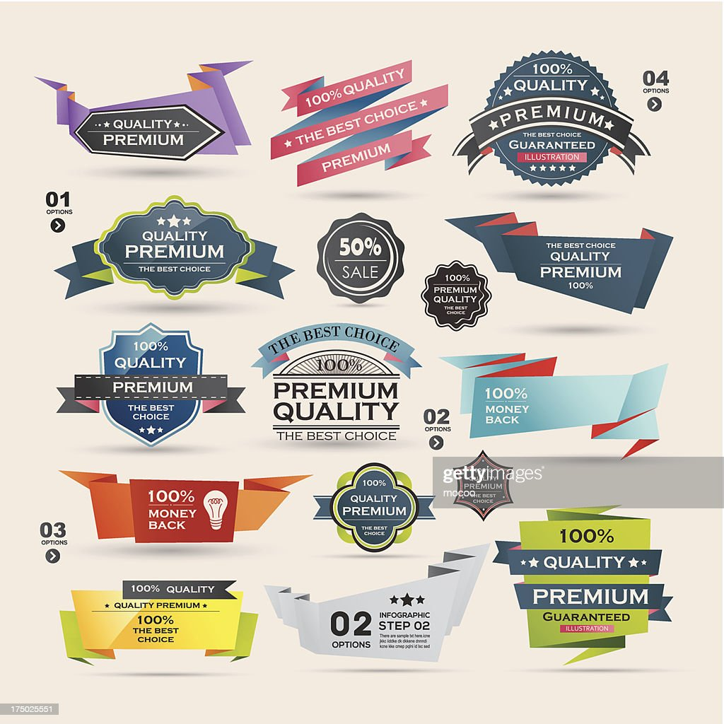 Vector illustration of retro-labels with ribbons