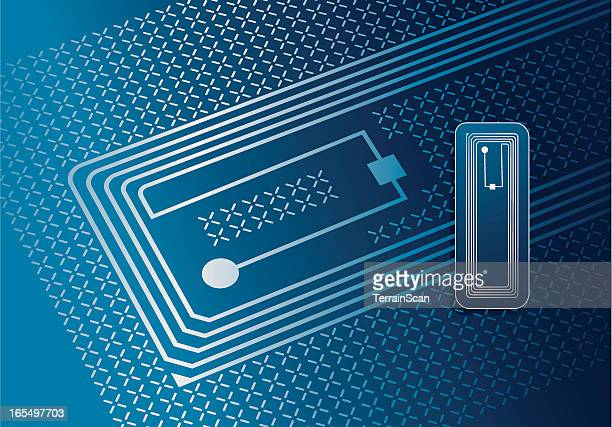 vector illustration of rfid tag - security pass stock illustrations, clip art, cartoons, & icons