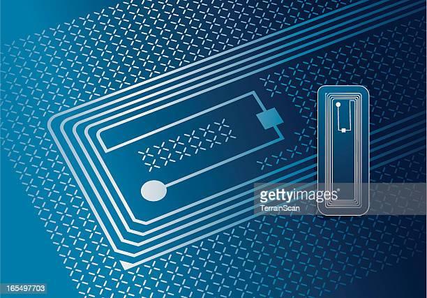 vector illustration of rfid tag - computer chip stock illustrations, clip art, cartoons, & icons