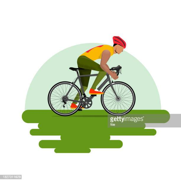 stockillustraties, clipart, cartoons en iconen met vector illustration of road cycling,cross-country bike race,racing route.a male athlete riding on a bicycle. - wielrennen