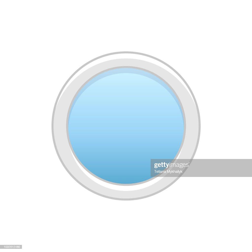 Vector illustration of round attic vinyl window. Flat icon of   traditional aluminum circular window for mansard & garret. Isolated on white background.