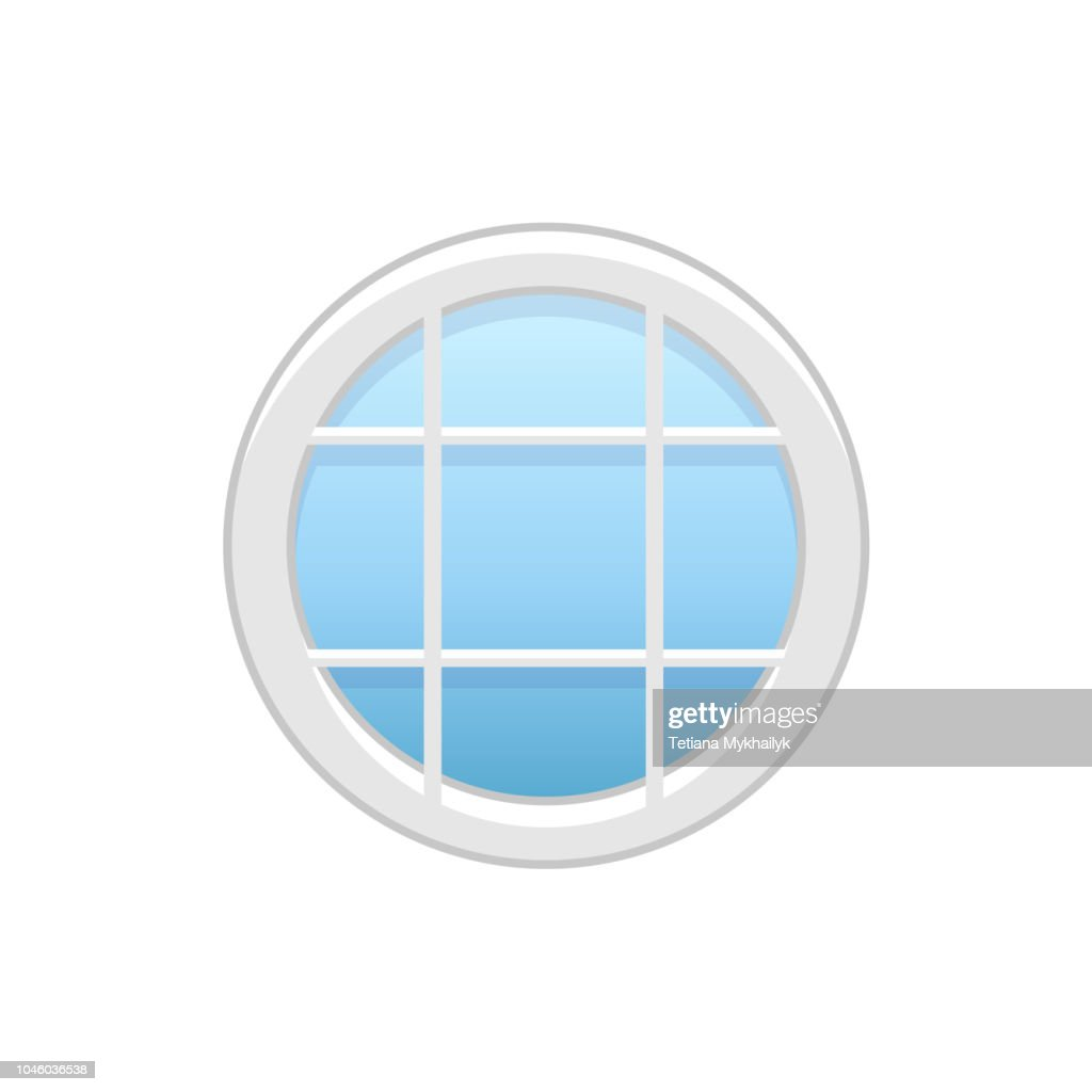 Vector illustration of round attic vinyl window. Flat icon of traditional aluminum window with horizontal & vertical bars for mansard & garret. Isolated on white background.