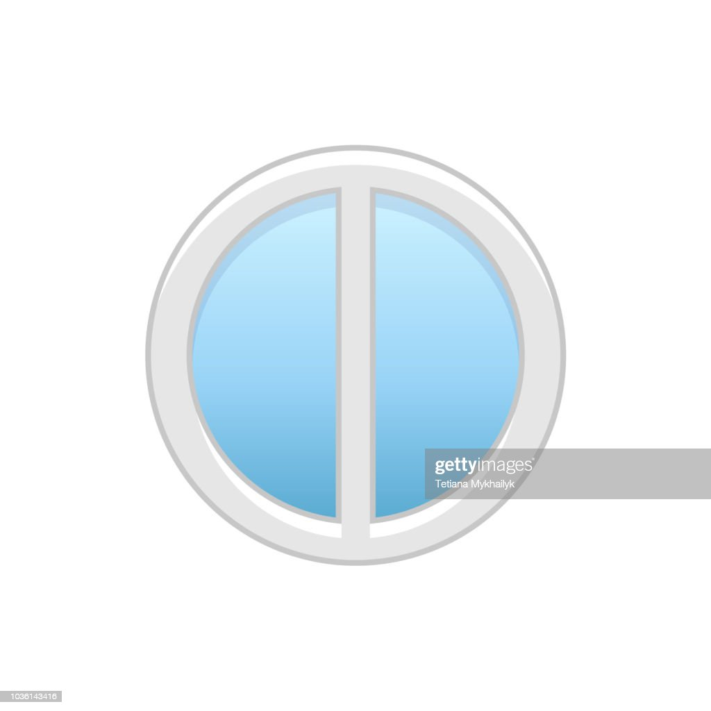 Vector illustration of round attic vinyl window with 2 panels. Flat icon of traditional aluminum circular casement window for mansard & garret. Isolated on white background.