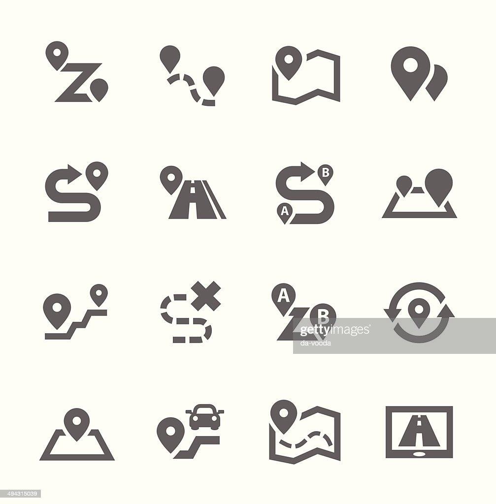 Vector illustration of route-related icons