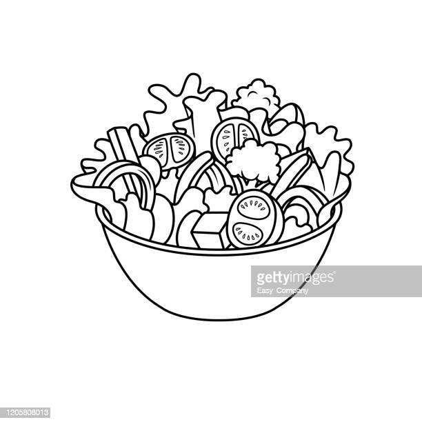 vector illustration of salad isolated on white background for kids coloring activity worksheet/workbook. - salad bowl stock illustrations