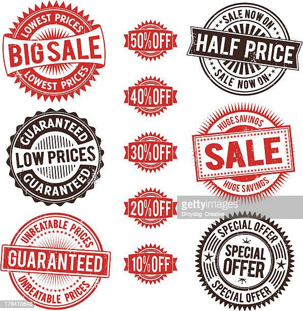 Vector illustration of sale stamp icons