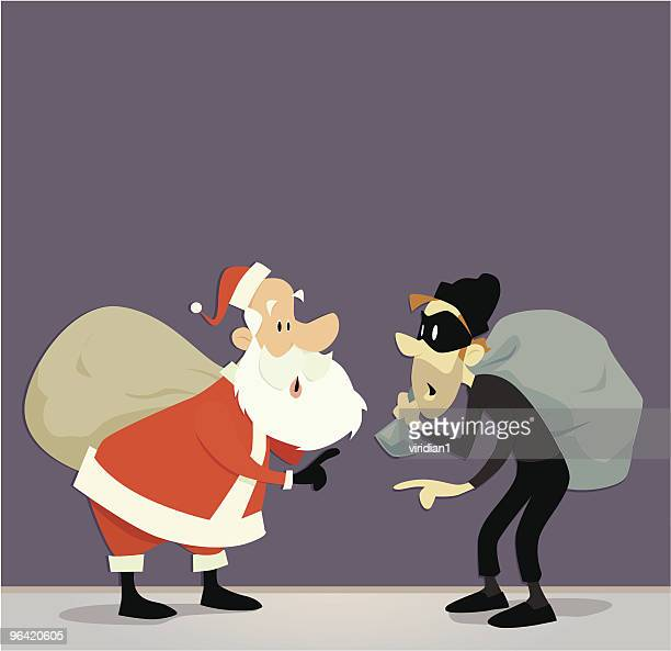 A vector illustration of Santa Claus and a robber with a bag
