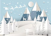 Vector Illustration of Santa Claus on the sky with snowflake, deer and tree, paper art and craft style
