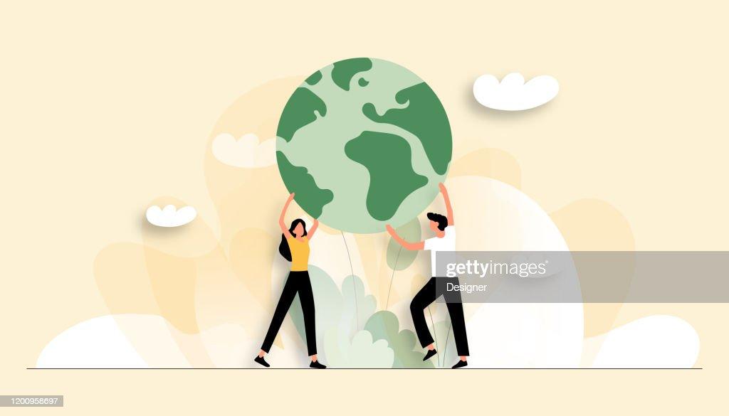 Vector illustratie van Save the Planet concept. Plat modern ontwerp voor webpagina, banner, presentatie enz. : Stockillustraties
