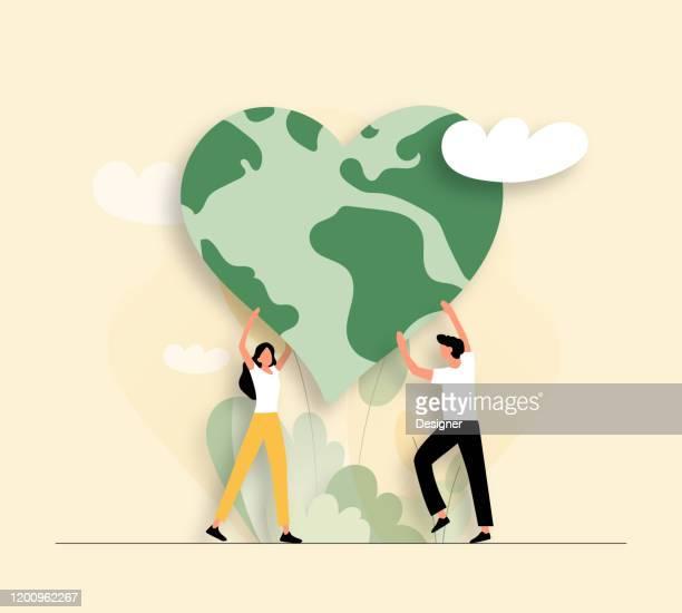 illustrazioni stock, clip art, cartoni animati e icone di tendenza di illustrazione vettoriale di save the planet concept. design moderno piatto per pagina web, banner, presentazione ecc. - flat design