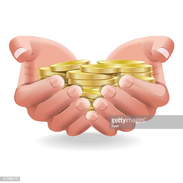 vector illustration of savings made in gold coins - dime stock illustrations