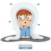 Vector Illustration Of Scared Kid Emotion