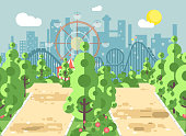 Vector illustration of scene landscape, alley, pavement, trees and bushes in amusement park outdoor, roller coaster switchback on background in flat style