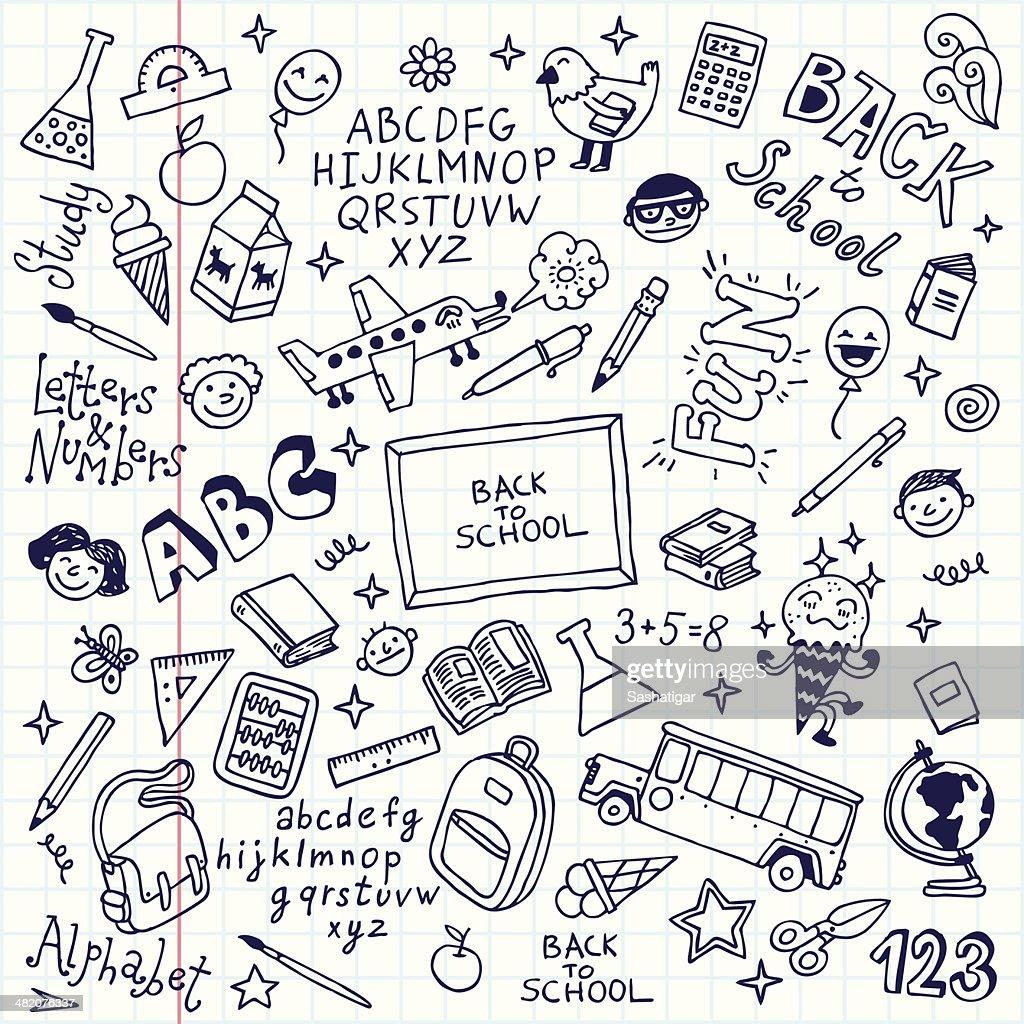 Vector illustration of school doodles in notebook