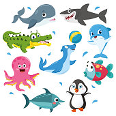 Vector Illustration Of Sea Animals