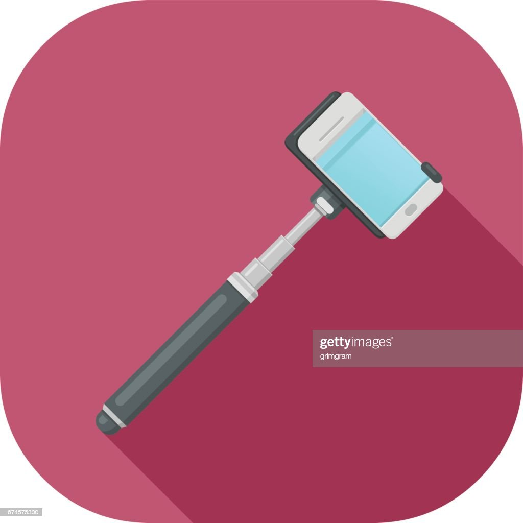 Vector Illustration of Selfie Stick Flat Icon Design.