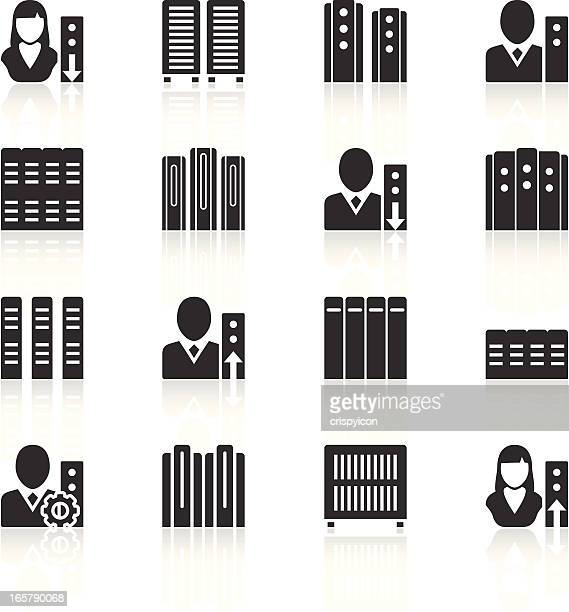 Vector illustration of server, woman and man icons, in black