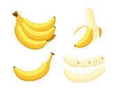 Vector illustration of set fresh banana isolated on white background