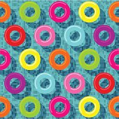 Vector illustration of several rubber rings in a pool