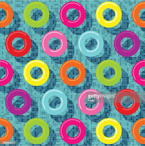 vector illustration of several rubber rings in a pool - donut stock illustrations, clip art, cartoons, & icons