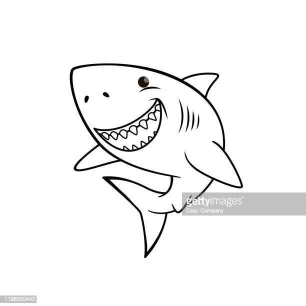 vector illustration of shark isolated on white background. for kids coloring book. - cartoon characters with big teeth stock illustrations